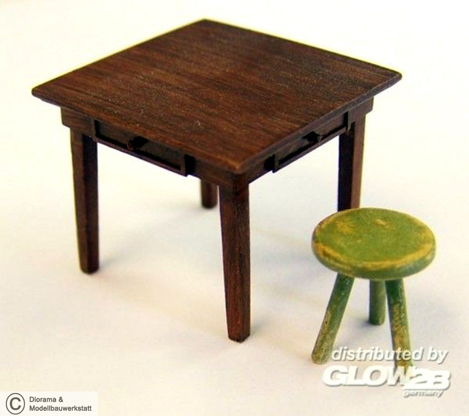 diorama zubeh r table and seat in 1 35 diorama shop. Black Bedroom Furniture Sets. Home Design Ideas