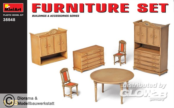 m bel set wohnzimmer esszimmer in 1 35 diorama shop. Black Bedroom Furniture Sets. Home Design Ideas